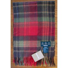 Barbour Country Check Scarf Olive/Red