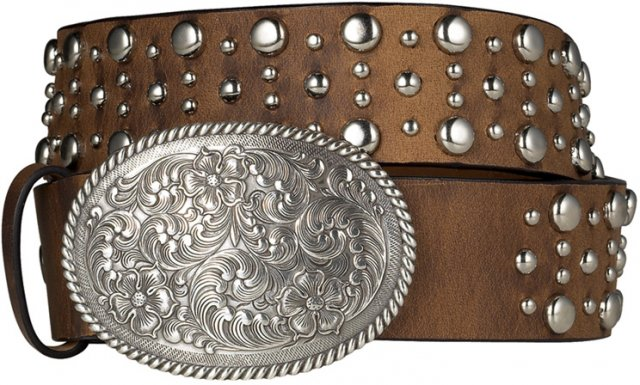 Ariat Domed Ladies Leather Belt 1.5""