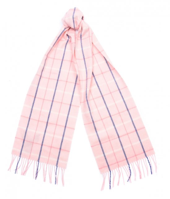 Barbour Country Tattersall Scarf Pink Plaid