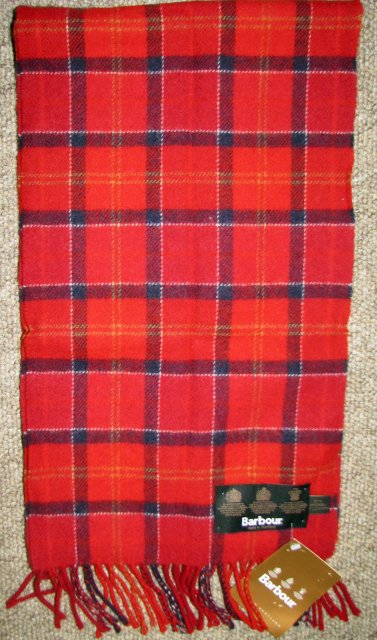 Barbour Tartan Lambswool Scarf Red Cardinal