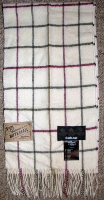 Barbour Tattersall Lambswool Scarf Cream USC0009CR11