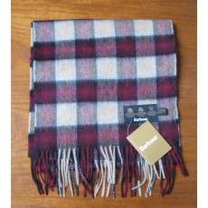 Barbour Gowan Check Lambswool Scarf Bordeaux