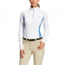 Ariat Women's Tri Factor Quarter Zip White/Blue Saga