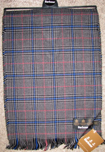 Barbour Merino Check Scarf Blue