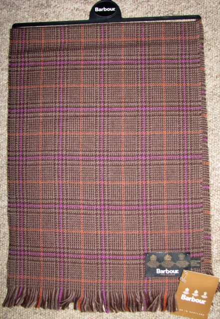 Barbour Merino Check Scarf Purple