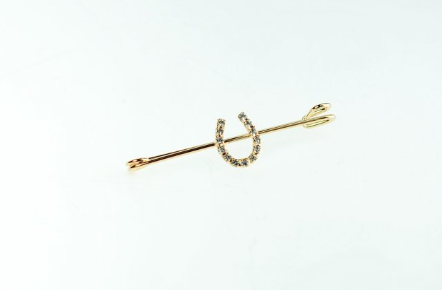 Showquest Swarovski Crystal horse shoe gold Stockpin