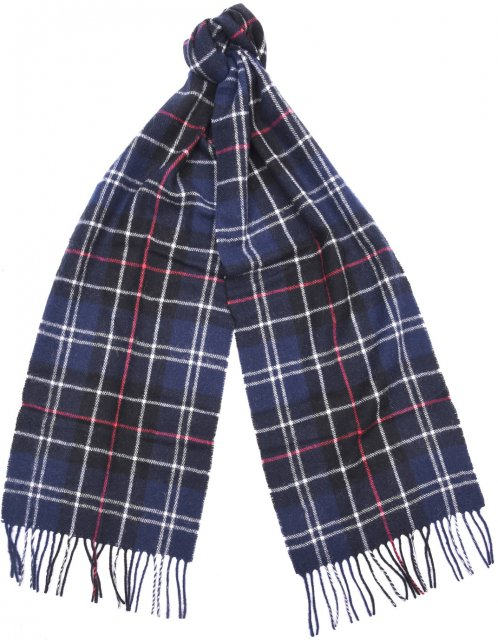 Barbour Tartan Lambswool Scarf Navy/Red