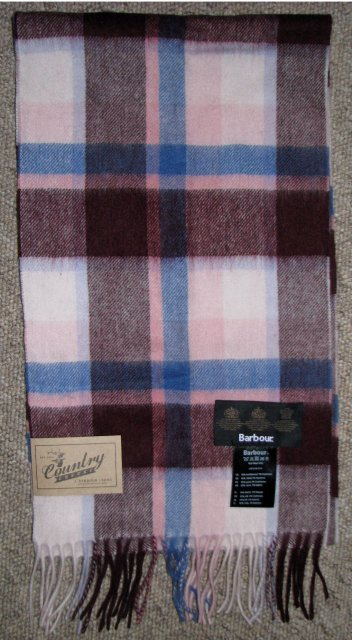 Barbour Country Plaid Scarf Pink Plaid