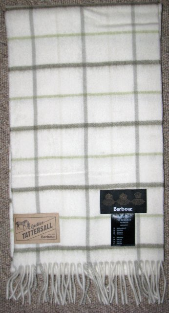 Barbour Country Tattersall Scarf Olive Plaid