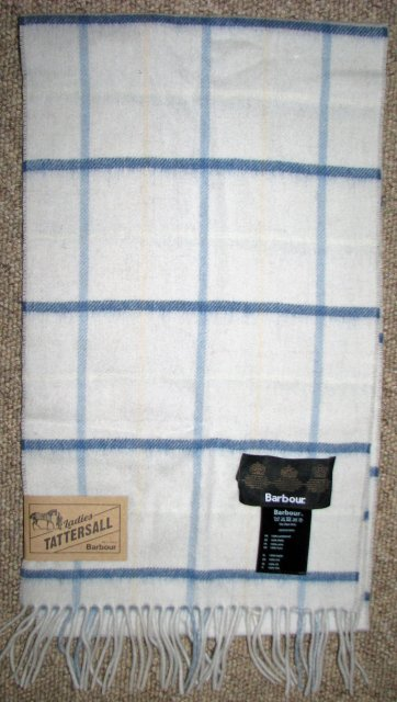 Barbour Country Tattersall Scarf Navy Plaid