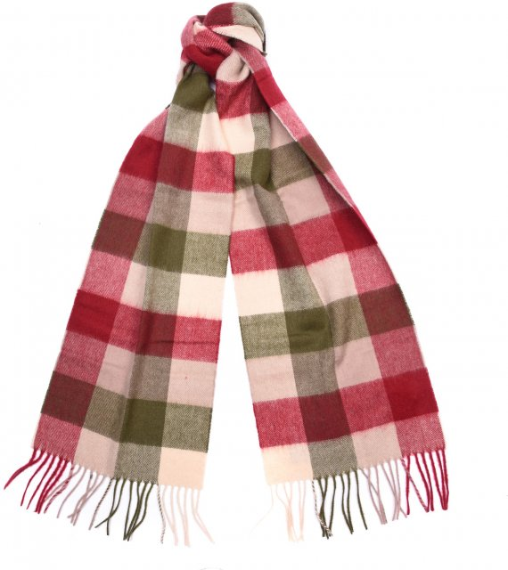 Barbour Large Tattersall Lambswool Scarf Olive Burgundy