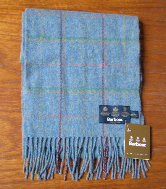 Barbour Newmarket Plaid Lambswool Scarf Blue