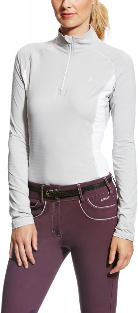 Ariat Women's Tri Factor Quarter Zip Silver Grey